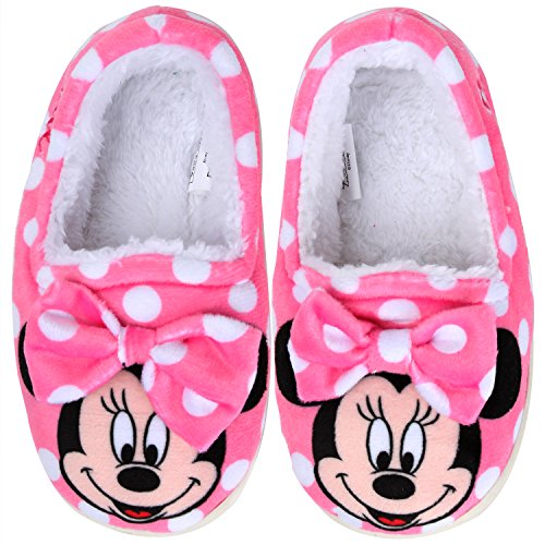 Joah Store Slippers for Girls Disney Minnie Mouse Warm Fur Indoor Pink Shoes (12 M US Little Kid, Minnie Mouse)]()