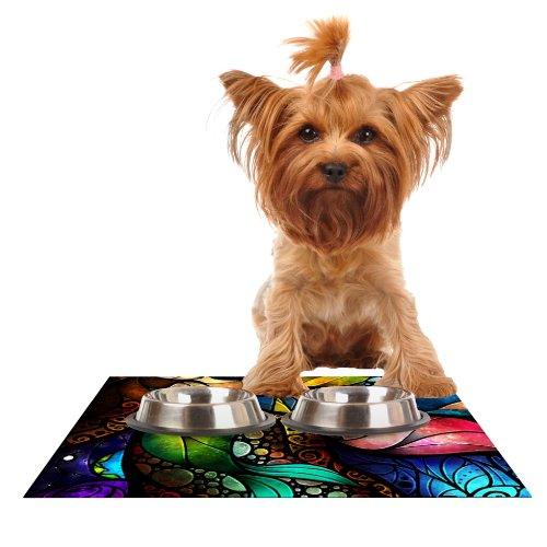 Kess InHouse Mandie Manzano Sleep and Awake  Feeding Mat for Pet Bowl, 18 by 13-Inch