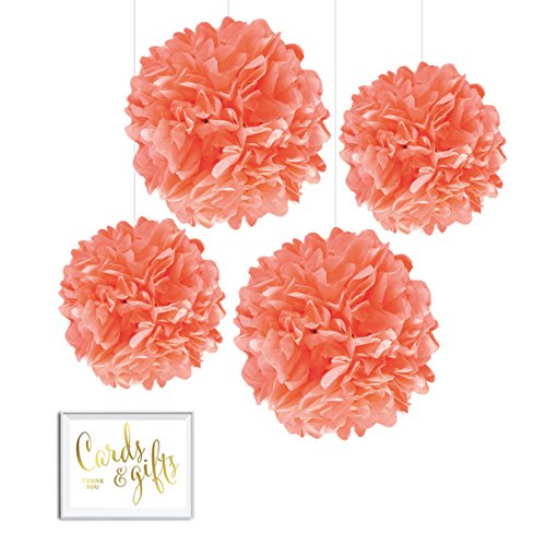 Andaz Press Tissue Paper Pom Poms Hanging Decorations with Free Gold Card & Gifts Party Sign, Coral, 8-inch and 10-inch, 4-Pack, Colored Birthday Party Supplies