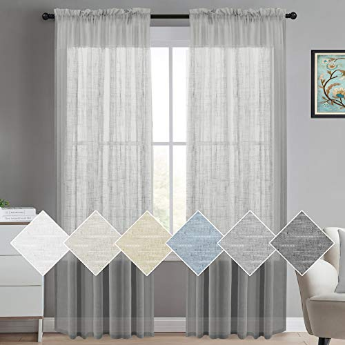 (Linen Sheer Curtains 84 Inches Long Linen Blended Curtains Natural Linen Curtain Panels Rich Quality Sheers Curtains For Bedroom Drapes Semi Sheer Linen Look Curtain Panels (2 Panel, Dove Gray))