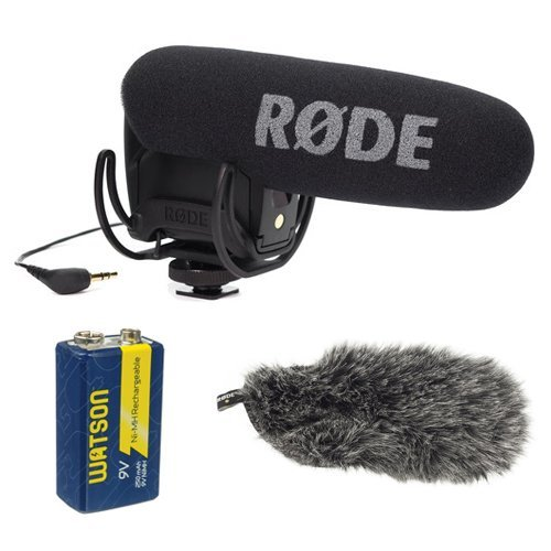 Rode VMPR VideoMic Pro R with Rycote Lyre Shockmount With Rode DeadCat VMPR and 9V Rechargeable NiMH Battery by Rode