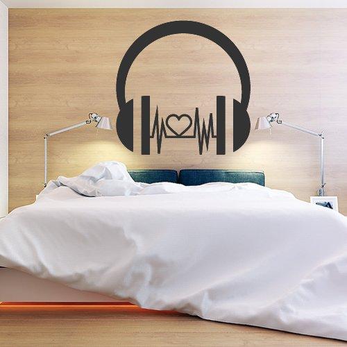Wall Decor Vinyl Sticker Room Decal Headphones Love Bedroom Energy Kiss Passion Music Heart Headphones Beat Pulse Tempo (S128)