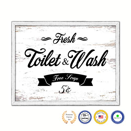 """Fresh Toilet & Wash Country White Wash Wood Frame Cottage Shabby Chic Gifts Home Decor Wall Art Canvas Print, 7""""x9"""""""
