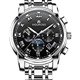 VIGOROSO Men's Business Quartz Analog Date Waterproof Luxury Stainless Steel Wrist Watch