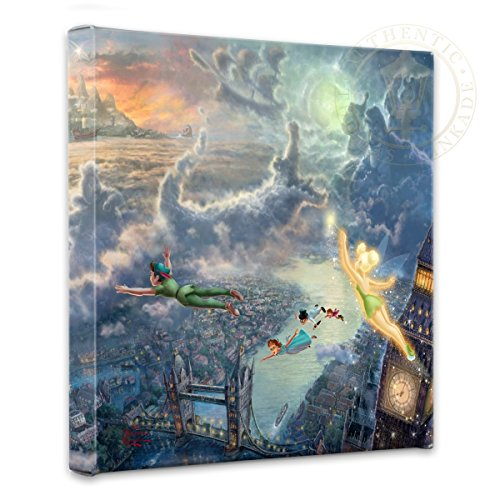 Thomas Kinkade - Gallery Wrapped Canvas , Tinker Bell and Peter Pan Fly to Neverland , 14