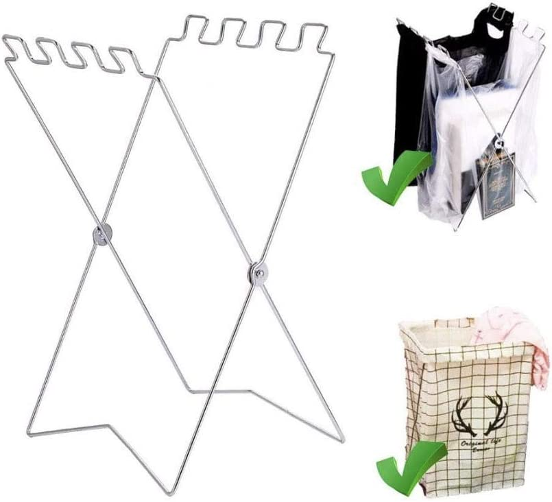 Lawn Work Camping Dorms H/&N-Sales Fold-able Counter-top Trash Bag Holder Stand//Towel Rack; Suitable for Supermarket Bags; Great Use for Kitchen