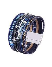 Jenia Women's Leather Wrap Bracelet - Leaf Alloy Beads Rope Braided Cuff Bangle Handmade Jewelry Teens Girls, Wife Gift