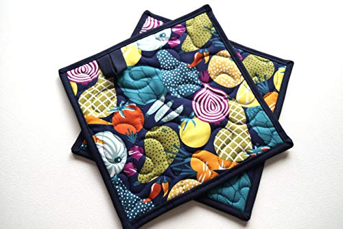 Fruit and Vegetable Quilted Fabric Pot Holders