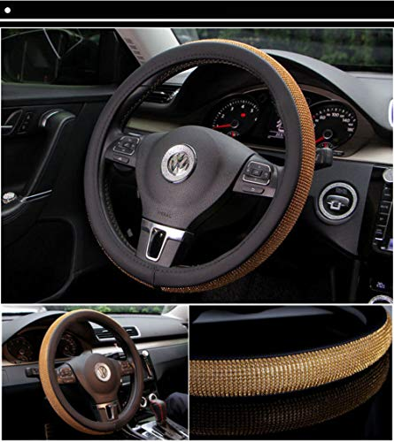 ISTN Mens Sport Style Contrast Color Non-Slip Sweat Good Breathable PU Leatherette 15 inch Car Steering Wheel Cover Pink