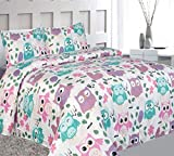Elegant Home Cute Beautiful Girls Pink White Blue Purple Floral Owl with Hearts Design Fun 4 Piece Printed Full Size Sheet Set with Pillowcases Flat Fitted Sheet for Girls/Kids # Owl (Full Size)