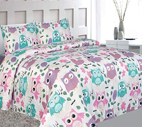 Elegant Home Cute Beautiful Girls Pink White Blue Purple Floral Owl with Hearts Design Fun 3 Piece Printed Twin Size Sheet Set with Pillowcase Flat Fitted Sheet for Girls/Kids # Owl (Twin Size)