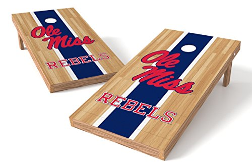 Wild Sports NCAA College Mississippi Old Miss Rebels 2' x 4' Hardwood Authentic Cornhole Game Set