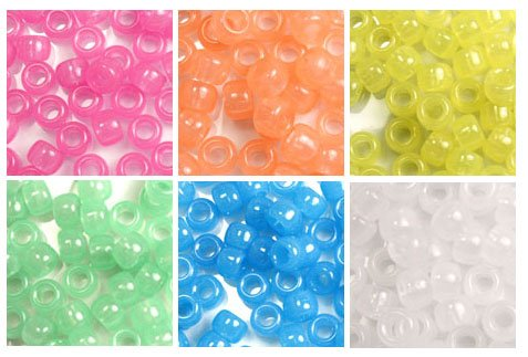 Glow Colors 6 x 9mm Plastic Craft Pony Beads, 6 Bags Variety Pack, 6 Colors (about 3000 beads), Beads Kit Gift Set