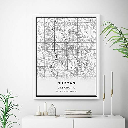 Squareious Norman Map Canvas Print, City Maps Wall Art, Oklahoma Gift Minimalistic Artwork, canvases, Living Room Canvas | M224 16x20 ()