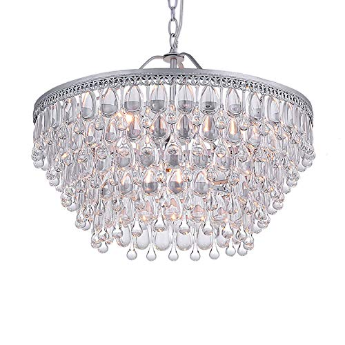 Jojospring Wesley Crystal 6-light Chandelier with Clear Teardrop Beads