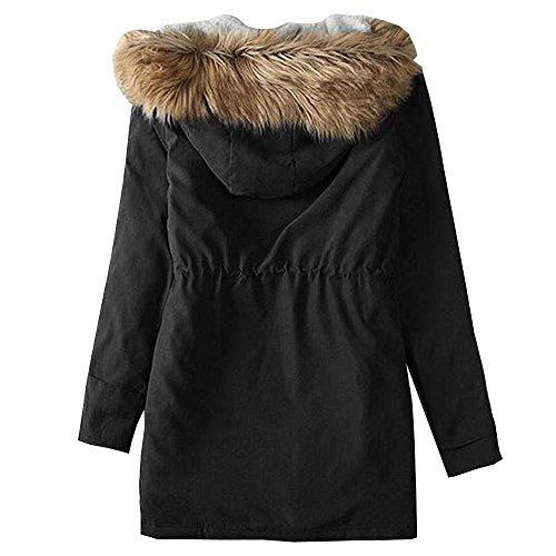 Inverno Cappotti Incappucciati Delle Nero Donne Bozevon Foderato Caldo Temperamento Lunghi qFHwrXxWFa