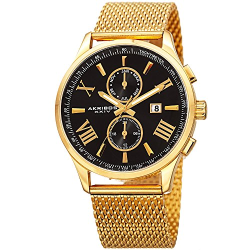 Akribos XXIV AK905YGB Men's Swiss Quartz Multi-function Black Sunray Dial Gold-tone Mesh Stainless Steel Bracelet Watch
