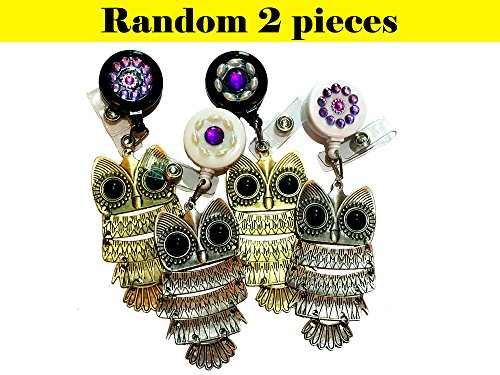 Random 2 Pieces Bling Rhinestone Charm Owl Decorated Retractable Badge Reel ID Holder with Clip Backing