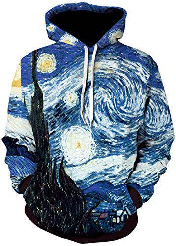Hoodie Van - Pandolah Men's 2018 Fashion Novelty Sweatshirts Animal 3D Printed Hoodies (Van Gogh-a, Large/X-Large)