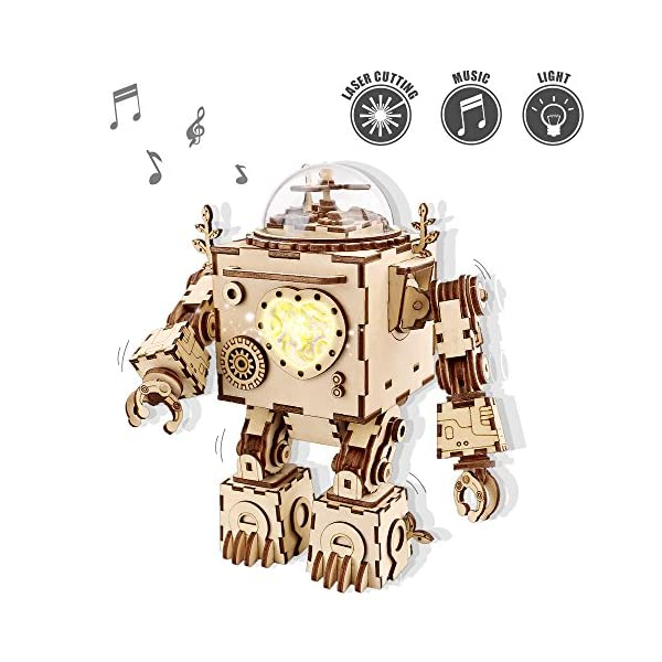 ROKR 3D Wooden Puzzle Music Box Machinarium with Light-3d Laser Cut Wooden Craft Kit-DIY Robot Toy for Boys and Girls 3