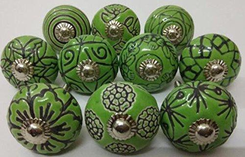 Hand Carved Ceramic - Vintage Look 10 Ceramic Knobs Zoya's Hand Carved Ceramic Knobs Handmade Ceramic Door Knobs Kitchen Cabinet Drawer Pulls Kid's Badroom Knobs by Zoya's (Green)