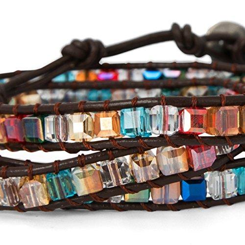 SPUNKYsoul 3 Wrap Dazzling Multi Color Crystal Leather Bracelet Collection by SPUNKYsoul (Image #2)