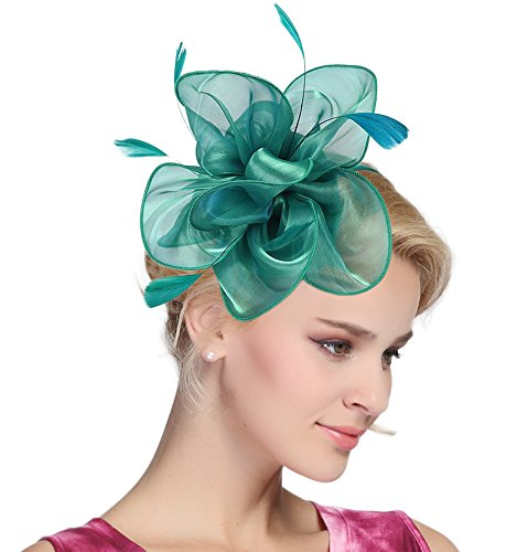 Urban CoCo Women's Vintage Flower Feather Mesh Net Fascinator Hair Clip Hat Party Wedding (Series 4-Peacock Green) ()