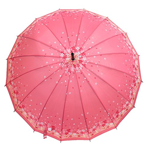 レディース雨傘桜舞RainbowDrop/長傘16本骨ジャンプ傘(ピンク)
