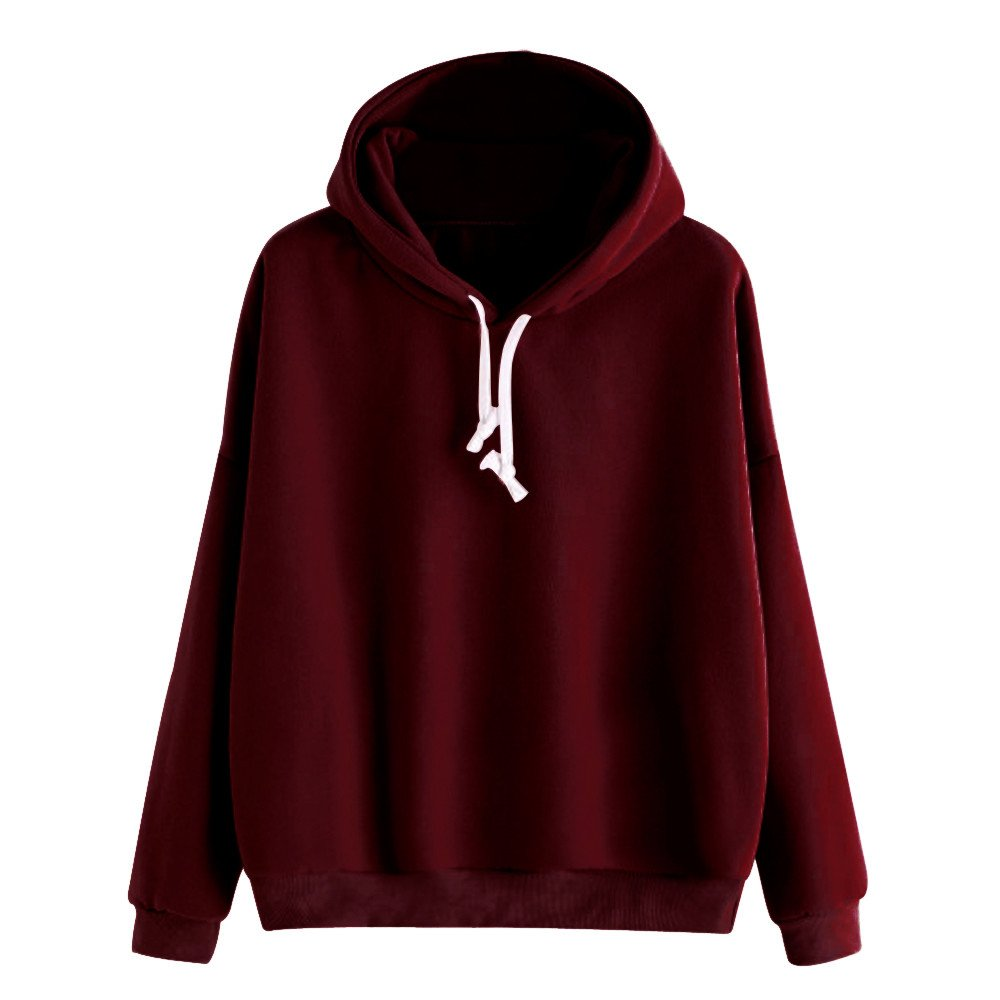Hengshikeji Womens Casual Long Sleeve Shirts Basic Soldi Crop Top Hooded Sweatshirts Blouses Jumpers Teen Girls Tunic Pullover (L, Wine Red)
