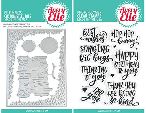 Avery Elle - So Kind Clear Stamps and Confetti Mat Elle-Ments Die - 2 Item Set