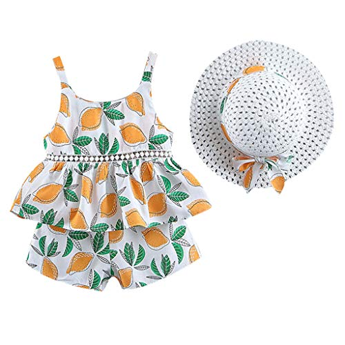 WOCACHI Toddler Baby Kids Girls Floral Fruit Strap Tops Shorts Outfits Hat Casual Set Infant Bodysuits Rompers Clothing Sets Christening Short Sleeve Organic Cotton Sunsuits