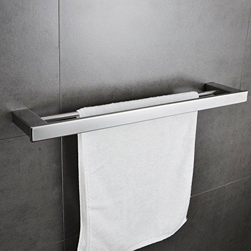Double Towel Bar Rack Shelf 24 Inch Rail Set Bathroom Towel Holder Kitchen Organizer Storage Wall Mount Stainless Steel Holtel Heavy Duty Modern Square Polished Chrome MARMOLUX ACC (Set Double Towel Bar)