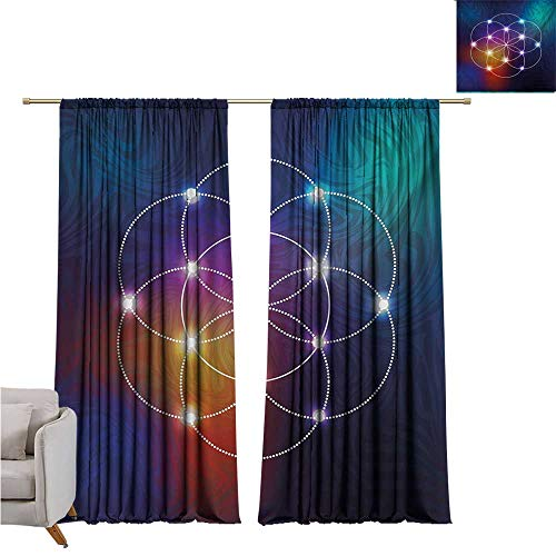 alisoso Circle,Room Divider Curtain Digital Overlapping Circles Grid Geometric Centered on Triangles Esoteric Energy Motif W96 x L96 Big Window -