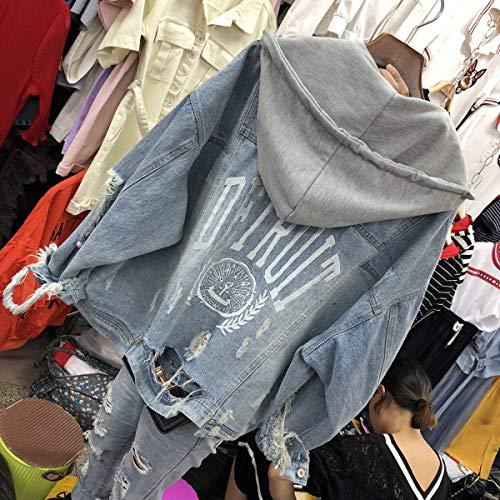 Di Cappuccio Manica Jacket Giacche Lunga Grigio Casual Cime Moda Tops Coat Donna Primavera Hoodie Giubbotto Jeans Con E Denim Autunno Giacca Outerwear Cappotto 6xqcWwS7AI