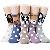 Women's Cute Dog Printed Cotton Crew Socks, Mix Color - 5 Pair Dots, US Women's Shoe Size 5-9