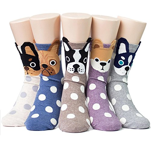 Women's Cute Dog Printed Cotton Crew Socks Ankle Animal Funny Boston Terrier Socks for - Womens Sock Terrier