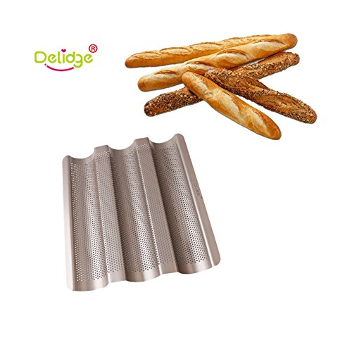Delidge 3 Gutters Non-stick Aluminized Steel Perforated Baguette Pan French Bread Pan Wave Loaf Bake Mold,Loaf Baking Pan,Wave Baking Molds Commercial Baguette mold for Artisan Bread 2x10.5inch by Delidge (Image #9)