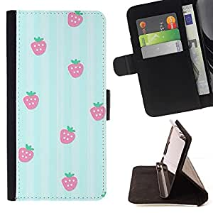 Momo Phone Case / Flip Funda de Cuero Case Cover - Lignes de motif fraise - HTC One A9