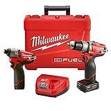 Milwaukee M12 FUEL 12V Li-Ion Brushless Cordless 1/2-inch Hammer Drill & Impact Driver Combo Kit  (2597-22)