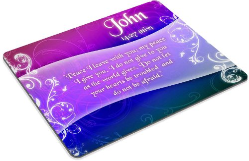 Christian Bible Verse John 14:27 Mouse Pads Customized Made to Order Support Ready 9 7/8 Inch (250mm) X 7 7/8 Inch (200mm) X 1/16 Inch (2mm) High Quality Eco Friendly Cloth with Neoprene Rubber MSD Mouse Pad Desktop Mousepad Laptop Mousepads Comfortable Computer Mouse Mat Cute Gaming Mouse_pad