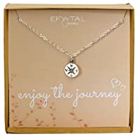 Sterling Silver Compass Necklace on Enjoy The Journey Card, Small Dainty Pendant for Travel, Long Distance, Graduation Gift, 18""