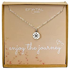 """Sterling Silver Compass Necklace on Enjoy The Journey Card, Small Dainty Pendant for Travel, Long Distance, Graduation Gift, 18"""""""