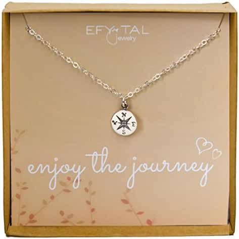 Sterling Silver Compass Necklace on Enjoy The Journey Card, Small Dainty Pendant for Travel, Long Distance, Graduation Gift, 18
