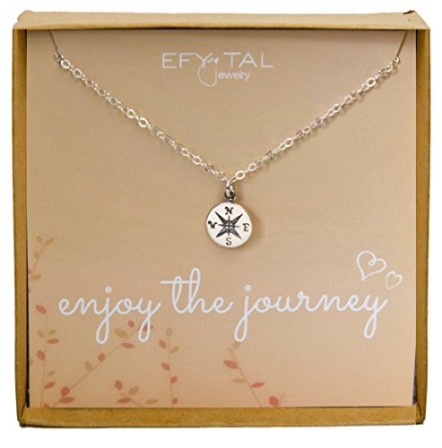 Sterling Silver Compass Necklace on Enjoy The Journey Card, Small Dainty Pendant for Travel, Long Distance,...