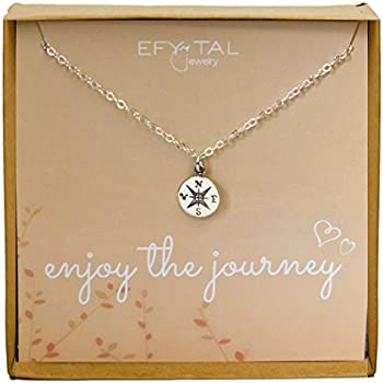 Amazon sterling silver compass necklace on enjoy the journey sterling silver compass necklace on enjoy the journey card small dainty pendant for travel aloadofball Image collections