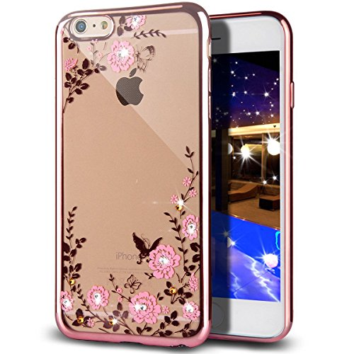 iPhone 6S Plus Case,iPhone 6 Plus Case,ikasus Pink Butterfly Floral Flower Glitter Bling Crystal Rhinestone Diamond Plated Clear Soft TPU Bumper Case Cover for iPhone 6S Plus / iPhone 6 Plus 5.5""