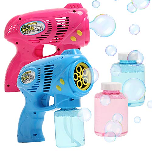 OleOletOy 2 Bubble Guns with 2 Bubble Solution Refill 5 oz Each, Bubble Maker Blower for Kids and Toddlers, Fun Summer Toy Blaster Game for Birthday Party and Wedding, Outdoor Toys for Boys and Girls best to buy