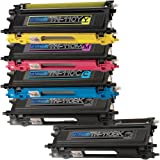 1 Pack + 1 Black of Total 5 Replacement toner cartridges for Brother TN-110 TN110 BK/C/M/Y Toner Cartridges replacement for Brother TN110BK TN110C TN110M TN110Y Combo Pack, Office Central