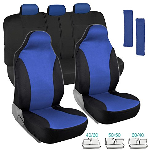high back bucket seat covers blue - 5