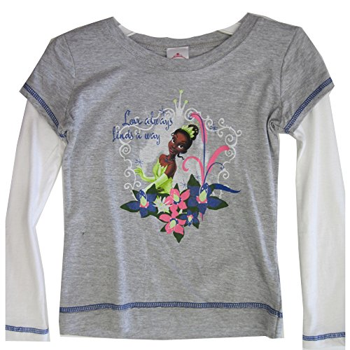 Disney Little Girls Grey White Princess and the Frog Long Sleeve T-Shirt 4-5 -